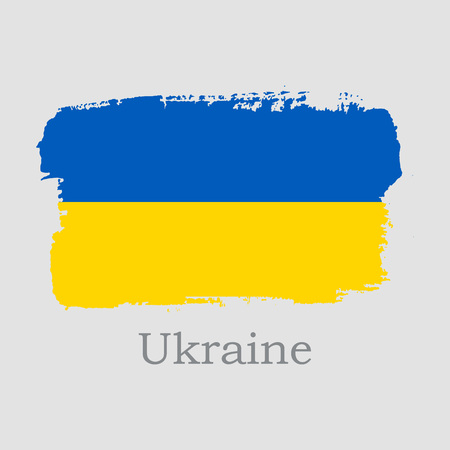 Vector Illustration. Hand draw Ukraine flag. National Ukraine banner for design on grey background