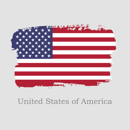 Vector Illustration. Hand draw USA flag. National United States of America banner for design on grey background