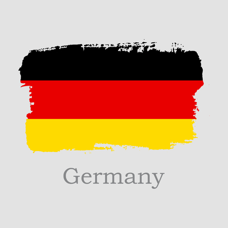 Vector Illustration. Hand draw Germany flag. National Germany banner for design on grey background