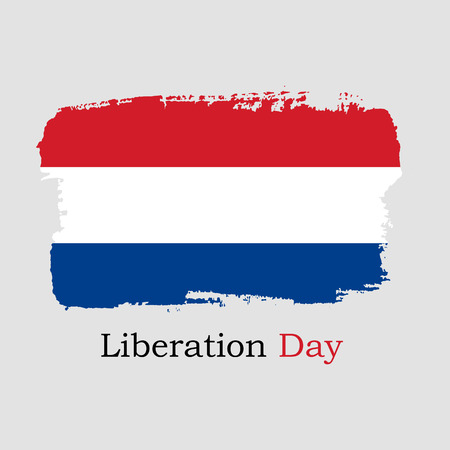 Vector Illustration. Hand draw Netherlands flag. National Netherlands banner for design. Liberation Day