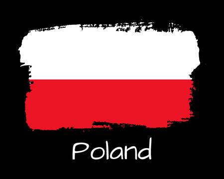 Vector Illustration. Hand draw Poland flag. National Poland banner for design on black background 向量圖像