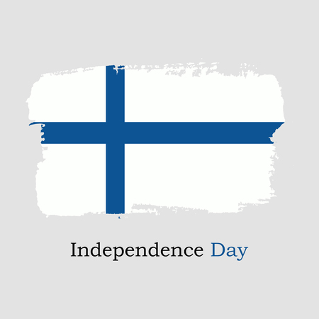 Vector Illustration. Hand draw Finland flag. National Finland banner for design. Independence Day of Finland