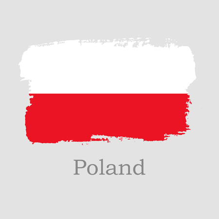 Vector Illustration. Hand draw Poland flag. National Poland banner for design on grey background