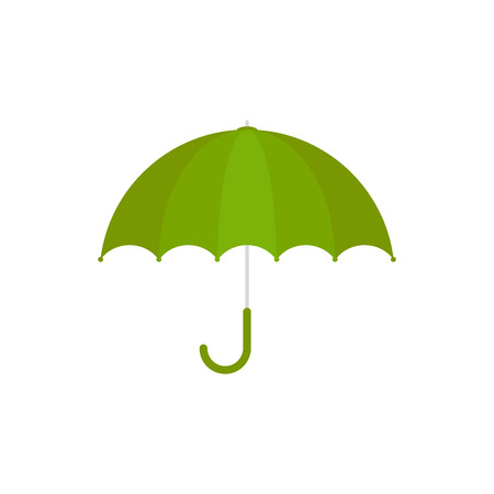 Vector Illustration. Green umbrella icon. Green umbrella isolated on white background. Cartoon style
