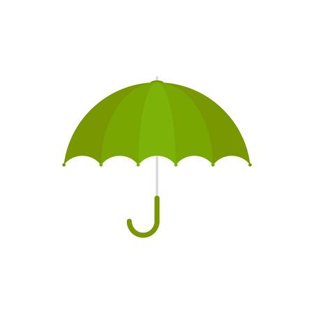Ilustración de vector. Icono de paraguas verde. Paraguas verde aislado sobre fondo blanco. Estilo de dibujos animados