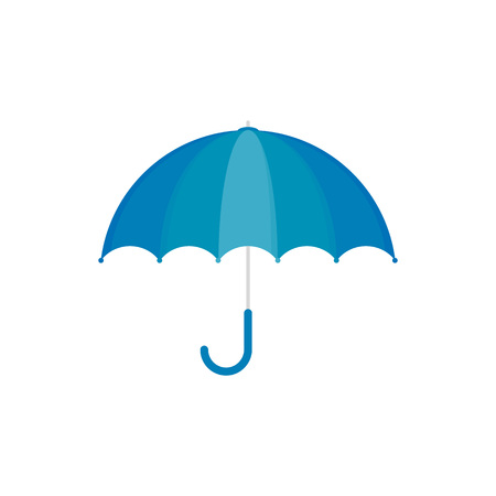 Vector Illustration. Blue umbrella icon. Blue umbrella isolated on white background. Cartoon style Illustration
