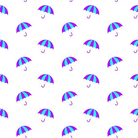 Vector Illustration. Summer seamless umbrella pattern. Cartoon style