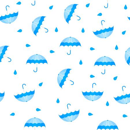Vector Illustration. Seamless blue umbrella pattern with drops. Autumn pattern with rain. Cartoon style