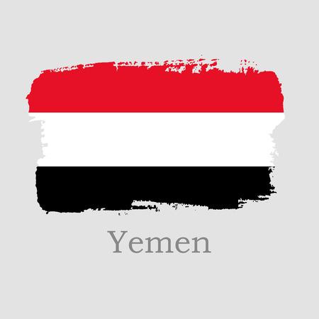 Vector Illustration. Hand draw Yemen flag. National Yemen banner for design