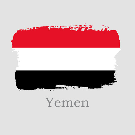 Vector Illustration. Hand draw Yemen flag. National Yemen banner for design