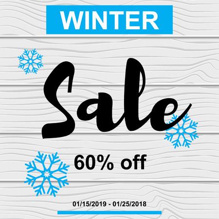 Vector Illustration. Sale banner winter blue snowflake on wood texture. Card design Illustration