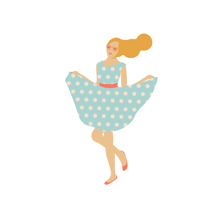 Vector illustration. Woman character standing in sun glasses and polka-dot dress in a modern flat style.