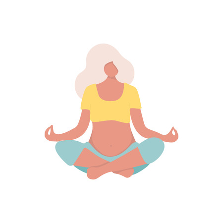 Vector Illustration. Young beautiful pregnancy woman character meditation while sitting yoga position in modern flat style. Fitness healthy lifestyle. Pregnant yoga pose for yoga studio.