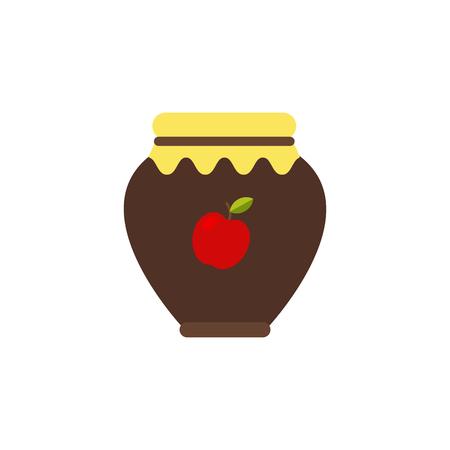 Vector Illustration. Apple jam isolated icon. Autumn confiture. Cache fruits. Thanksgiving simbol