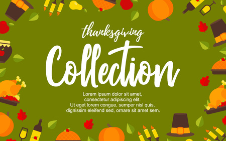 Vector Illustration. Poster with thanksgiving icons on green background. Thanksgiving elements collection with additional place for text. Background for design 向量圖像