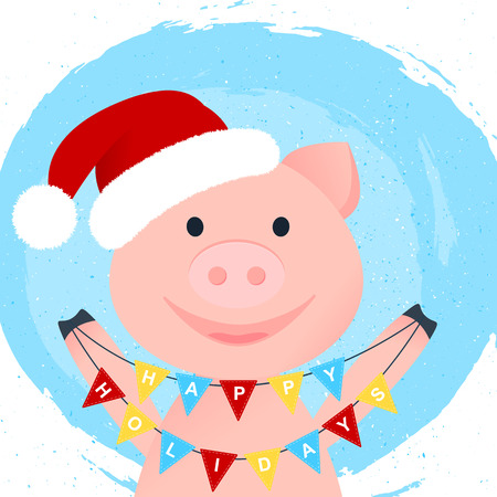 Vector Illustration. Cartoon happy pig. Happy Holidays on pennant with cartoon smilling piggy in Santa Clauss hat on hand draw splodge with flakes background