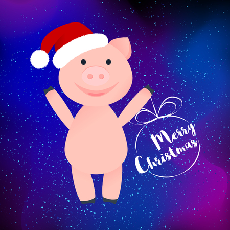 Vector Illustration. Cartoon happy pig in Santa Claus's hat isolated. Pig is standing. Merry Christmas in ball for poster on modern abstract background