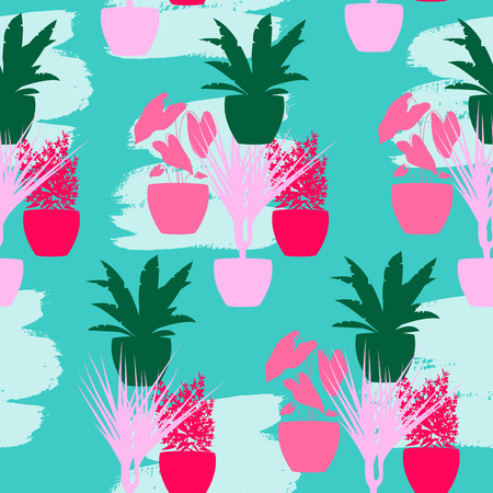 Vector Illustration. Home plants seamless pattern. Tropical seamless pattern on hand drawn splodge of paint. Colorful home plants on green background Stock Illustratie