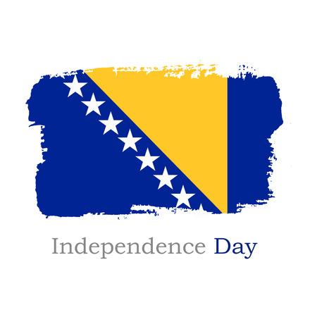 Illustrazione di vettore. Bandiera della Bosnia ed Erzegovina di tiraggio della mano. Bandiera nazionale della Bosnia ed Erzegovina per il design su sfondo bianco. Giorno dell'Indipendenza Vettoriali
