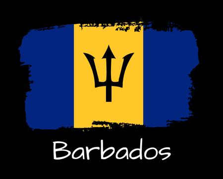Vector Illustration. Hand draw Barbados flag. National Barbados banner for design on blackbackground