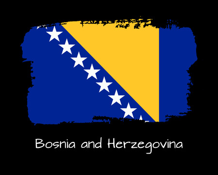Vector Illustration. Hand draw Bosnia and Herzegovina flag. National Bosnia and Herzegovina banner for design on black background.