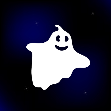 Vector Illustration. Ghost cartoon style. Spooky icon on sky background with stars