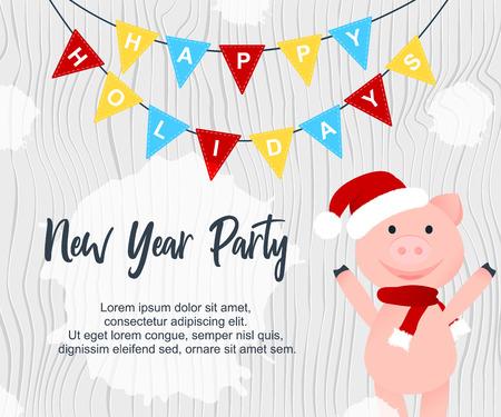 Ilustración de vector. Cerdo feliz de dibujos animados. Cartel de fiesta de año nuevo por invitación. Felices fiestas en banderín con dibujos animados smilling piggy en sombrero de Santa Claus y bufanda en textura de madera