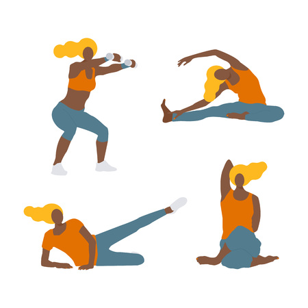 Vector Illustration.Set of  Young afro american isolated sportwoman in sportwear. Modern flat style character doing exercises