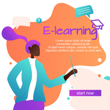 Vector Illustration. Online learning foreign languages, girl  for gadgets learn languages, online study through the website, communication with foreigners via the Internet