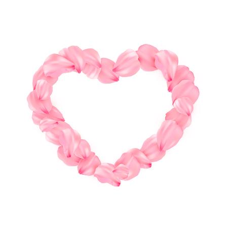 Pink sakura heart petals vector background. 3D romantic illustration. Isolated heart in sakura pental