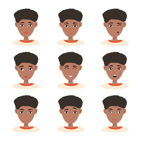 Espressioni del viso di donna afroamericana con i capelli scuri. Diverse emozioni femminili impostate. Attraente personaggio dei cartoni animati. Illustrazione vettoriale isolato su sfondo bianco