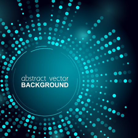 Gloeiende halftoonpunten cirkel glanzend blauw ontwerp voor club, feest, show uitnodiging. Abstracte neonlichtenachtergrond voor uw ontwerp. vectorillustratie Vector Illustratie