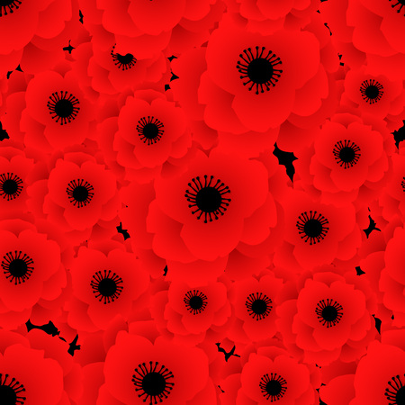 Poppy seamless pattern. Red poppies on black background. Can be used for textile, wallpapers, prints and web design. Vector illustration