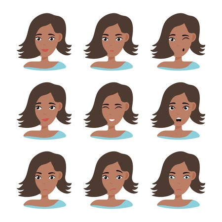 Face expressions of African American woman with dark hair. Different female emotions set. Attractive cartoon character. Vector illustration isolated on white background