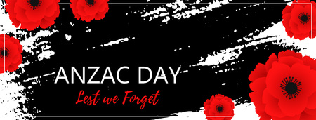 A bright poppy flower. Remembrance day symbol. Lest we forget lettering. Anzac day poster with hand draw ink. Web poster. Banner