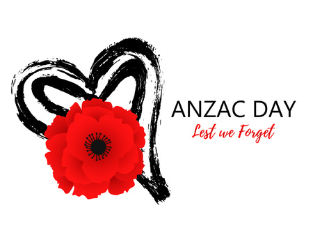 A bright poppy flower. Remembrance day symbol. Lest we forget lettering. Anzac day poster with hand draw heart. Vector Illustration