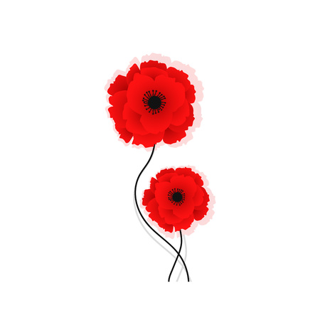 Isolated Red poppy icon. Symbol of world war in modern style. Vector Illustration for floral autumn design. Symbol of British remembrance day