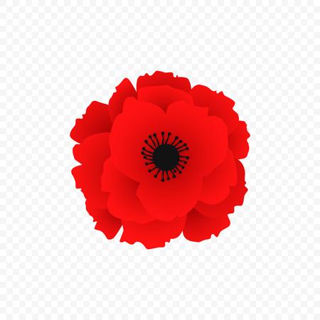 Icono de amapola roja aislado. Símbolo de la guerra mundial en estilo moderno. Ilustración de vector de diseño floral de otoño. Símbolo del día del recuerdo británico