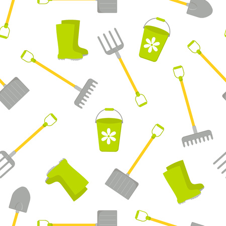 Seamless pattern with Vector set of tools for gardening. Gardening collection. Cartoon style