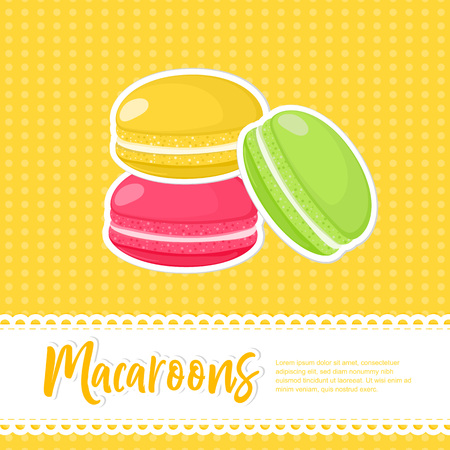 Food concept poster. Flame of cartoon french Macaroons background. Sweet and tasty vector template for cooking and restaurant menu in retro style Illusztráció