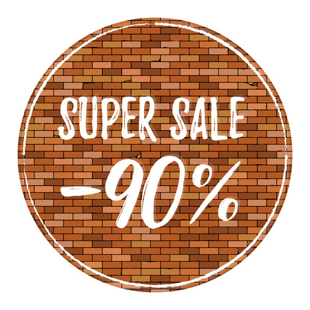 Old brick wall background with vignette. Vector brick wall texture with super sale 90 off. Sale poster Иллюстрация