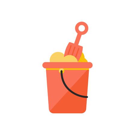 Vector Illustration. Kid bucket and shovel