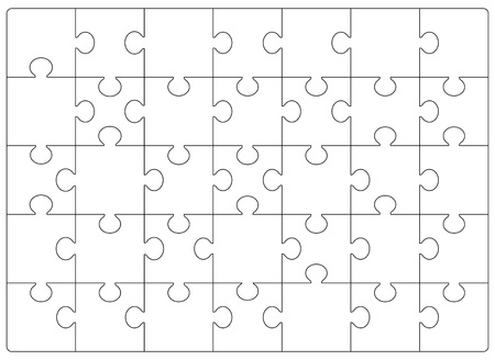 Puzzles grid template. Jigsaw puzzle 24 pieces, thinking game and 6x4 jigsaws detail frame design. Business assemble metaphor or puzzles game challenge vector illustration