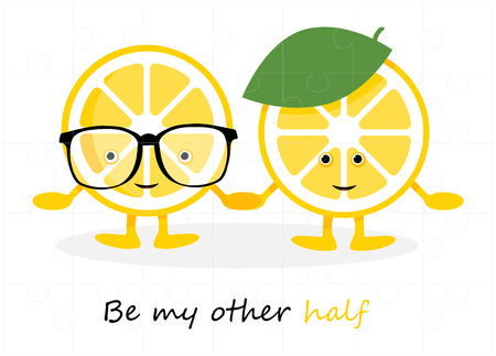 Puzzles grid picture. Jigsaw puzzle 24 pieces, thinking game and 6x4 jigsaws detail frame design. Lemons in Cartoon style. Be my other half. Vector illustration Illustration