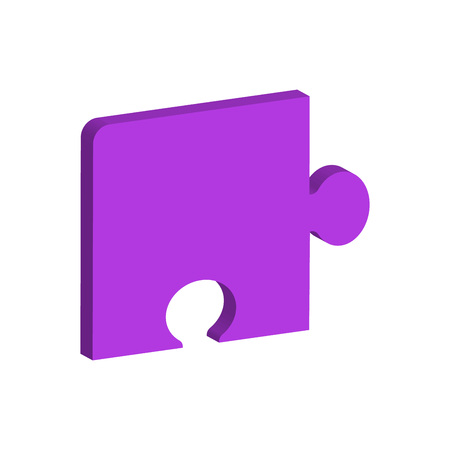 One dimensional puzzle piece colored purple for connection concepts. Vector Illustration 矢量图像