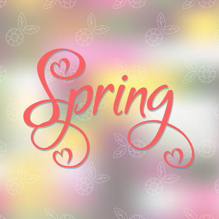 Vector Illustration. Spring time card on abstract background