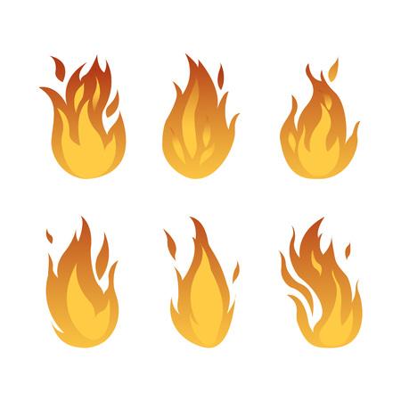 VectorIllustration. Set with different kinds of flames