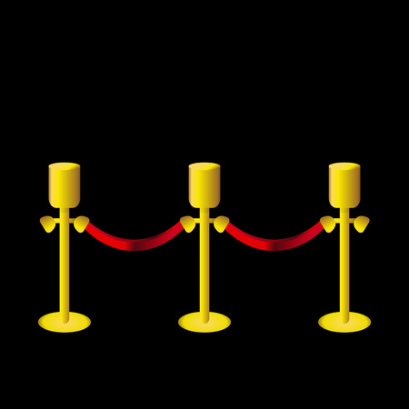 Vector Illustration. Golden fence post with red rope on black backgroung