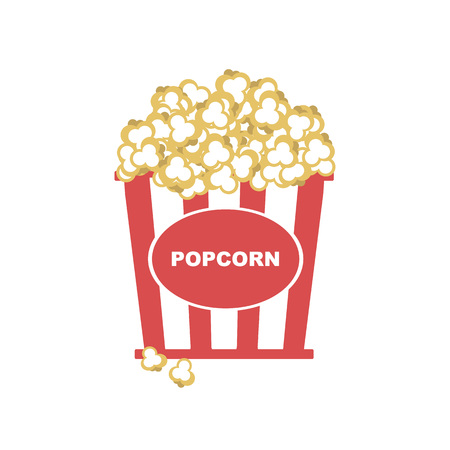 Vector Illustration. Popcorn in box with  red strips icon Vettoriali