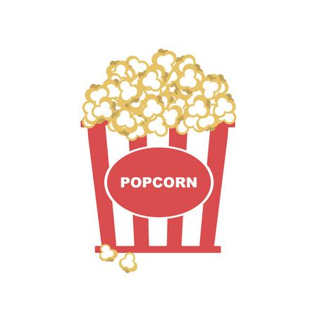Vektor-Illustration. Popcorn in Schachtel mit roten Streifen-Symbol